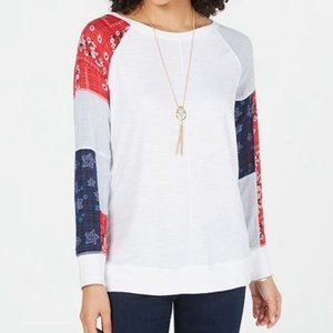 NWT Style& Co Patchwork-Sleeve Top American Breeze